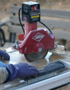 Tile Saw In Action